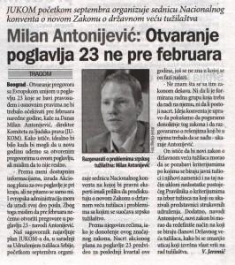 Milan Antonijevic_Otvaranje poglavlja 23 ne pre februara (Danas, 20.08.2015.)