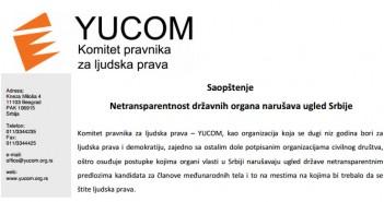 saopstenje - netransparentnost drzavnih organa narusava ugled srbije