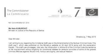 Komesarka poziva vlasti u Srbiji da preispitaju odluku o nacrtu zakona o izmenama i dopunama Krivičnog zakonika
