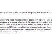 Saopštenje povodom zastoja evropskih integracija Republike Srbije u 2020.
